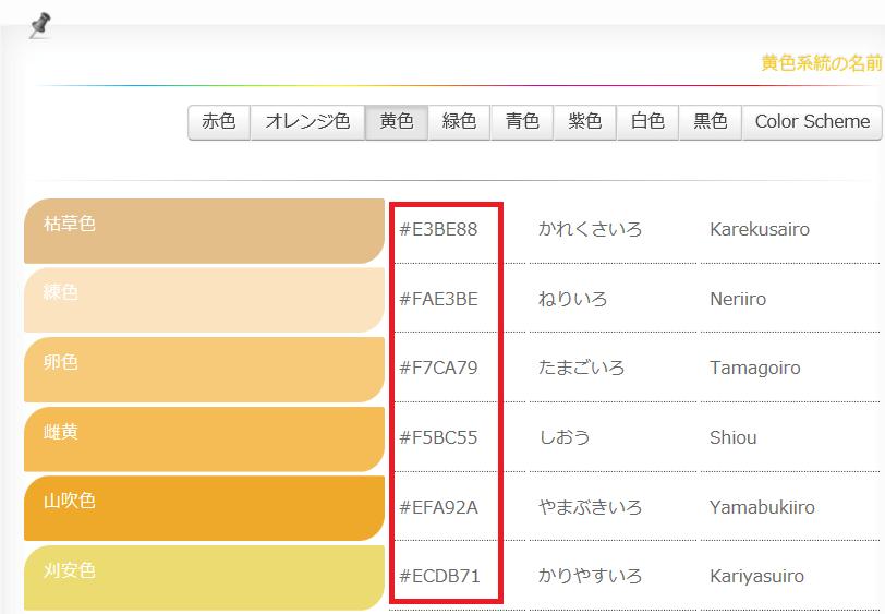 カラーコードを取得できるサイト例