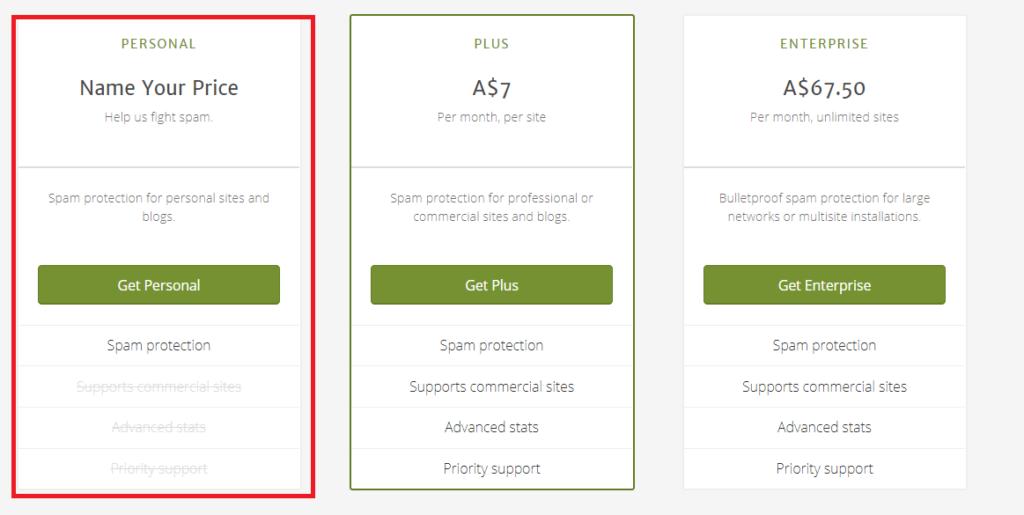 WordPressプラグインAkismet Anti-Spamプランの選択