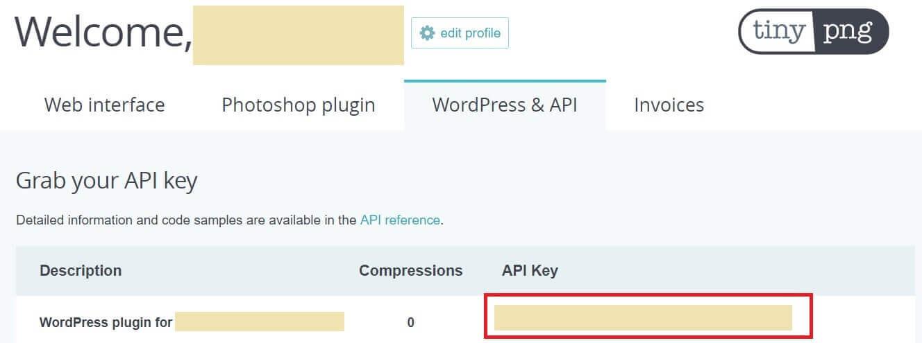 画像圧縮プラグインCompress JPEG & PNG images登録手順 APIキー