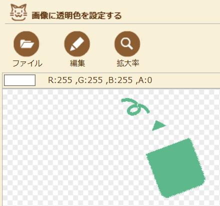 画像を透過にするフリーソフト、ペコステップの使用例