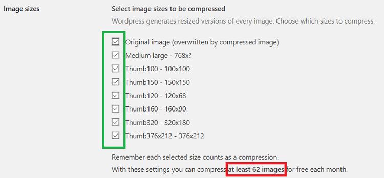 """英語メッセージ With these settings you can compress at least """" """" images for free each month."""